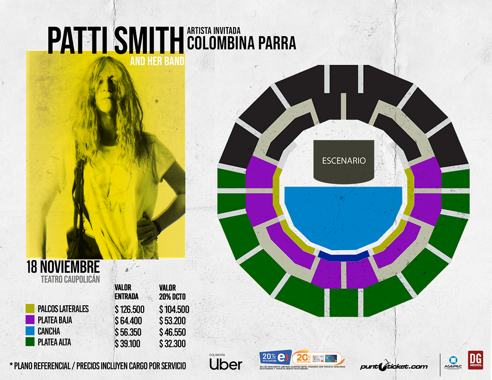Colombina Parra abrirá el debut de Patti Smith en Chile